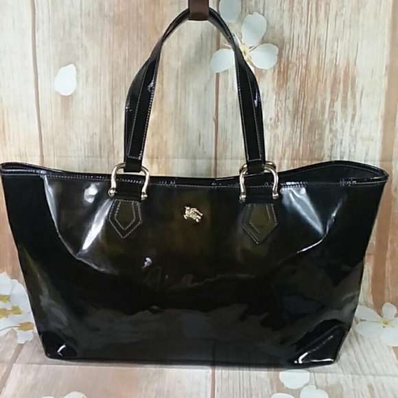ac1cf7fbd86d Burberry Handbags - Authentic Burberry Black Enamel Leather Tote Bag